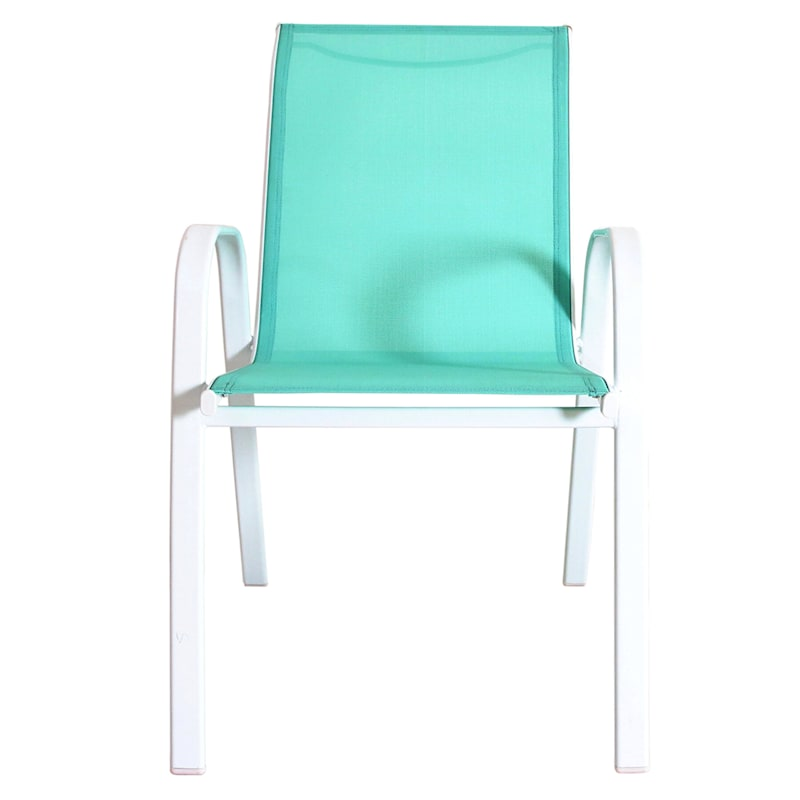White Sling Stack Chair Steel Frame/Aqua Textilene | At Home Steel Frame Homes Near Me