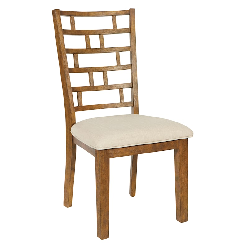 Geometric Wood Dining Chair with Upholstred seat