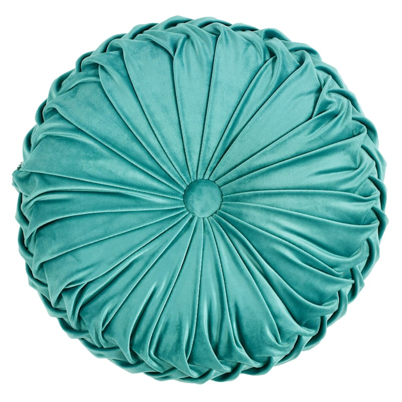 Holan Teal Pleated Velvet Round Pillow With Button 16in.