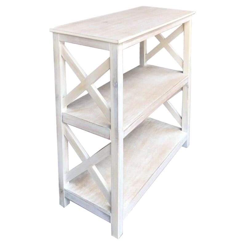 White Three Tier X-Side Bookshelf