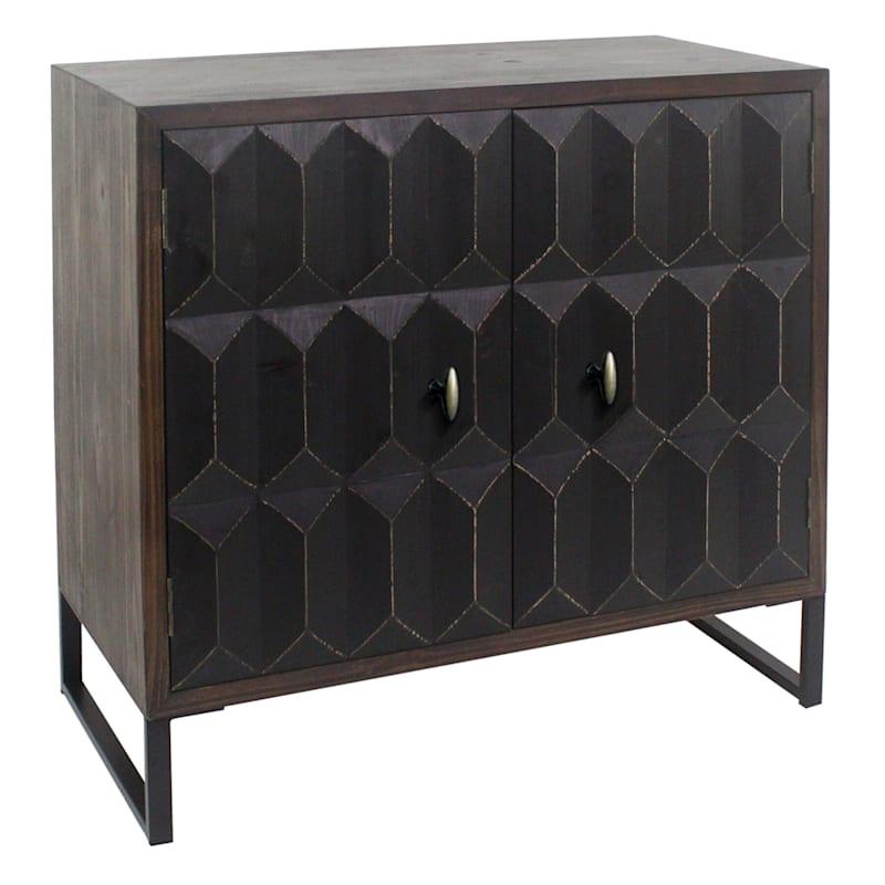 Modern Saffron Textured Black Cabinet