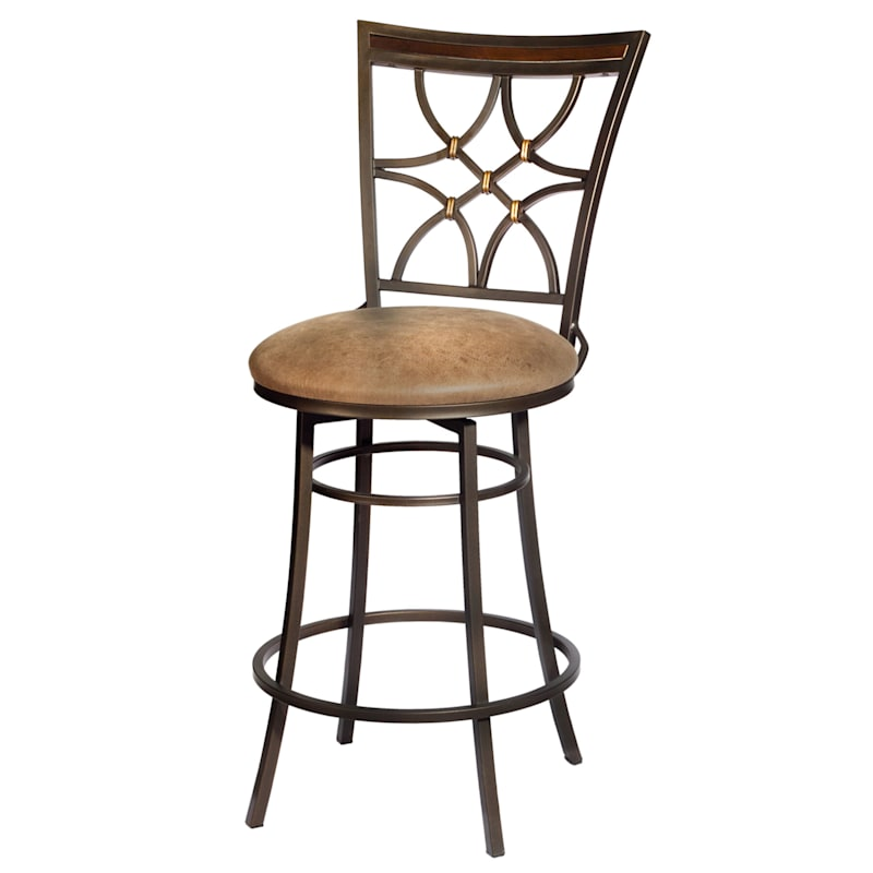 Gardner Brown Metal Swivel Counter Stool with Faux Leather Upholstered Seat