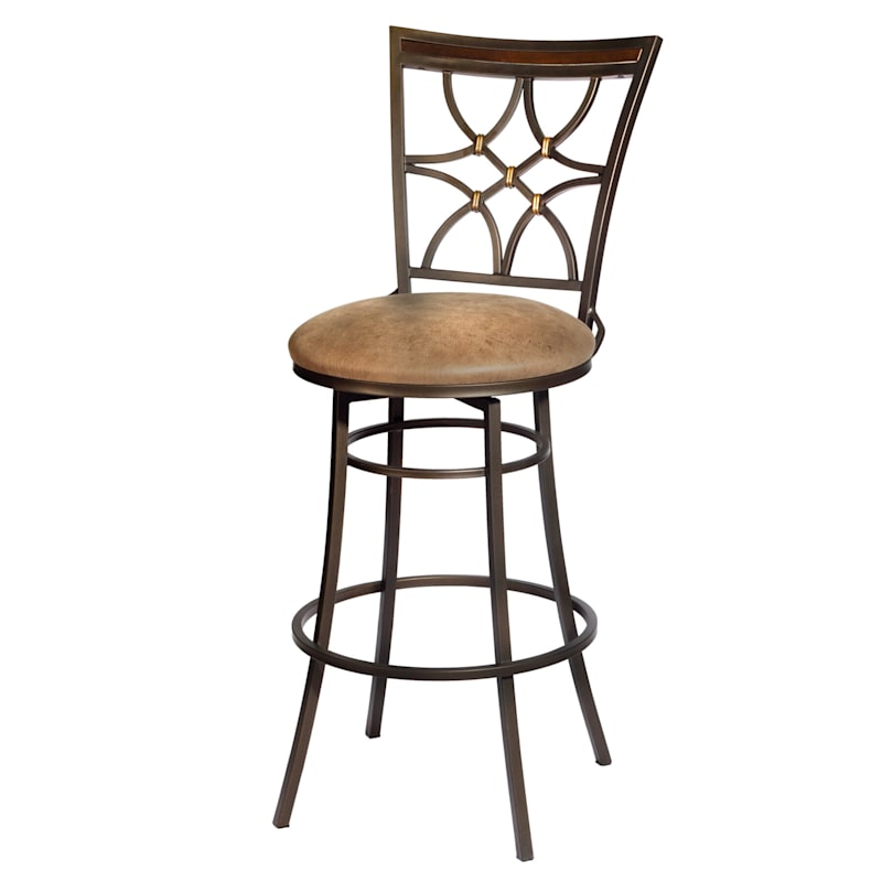 Gardner Brown Metal Swivel Barstool with Faux Leather Upholstered Seat