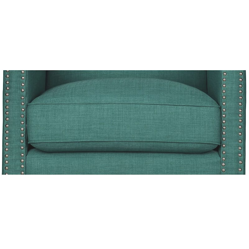 Erica Teal Accent Chair with Nailhead Trim
