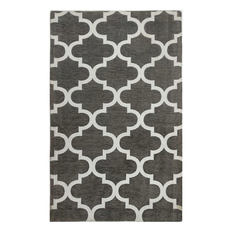 Soho Grey Trellis Pattern Chenille Accent Rug, 2x4