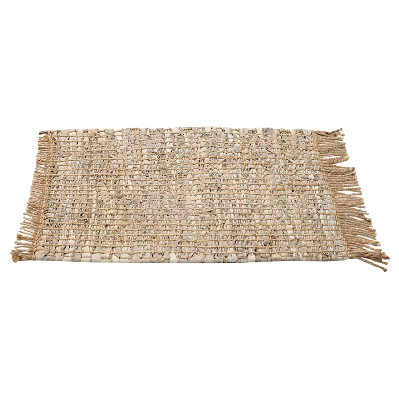 IVORY LEATHER ACCENT RUG 24X36
