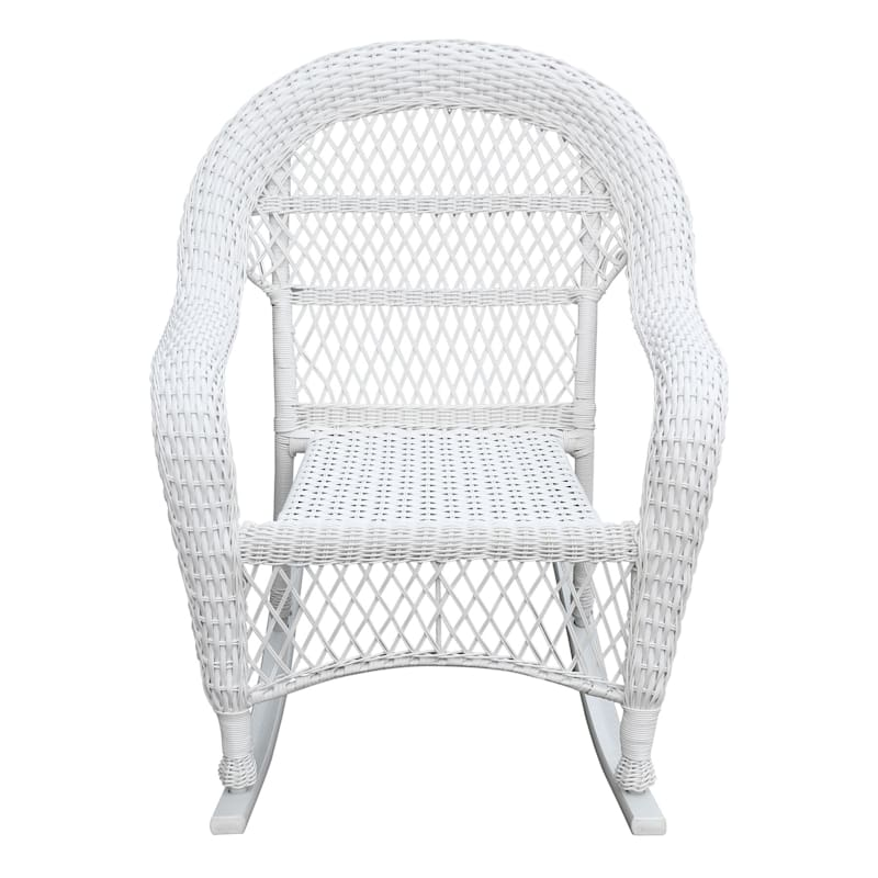 Outdoor Wicker Rocker, White
