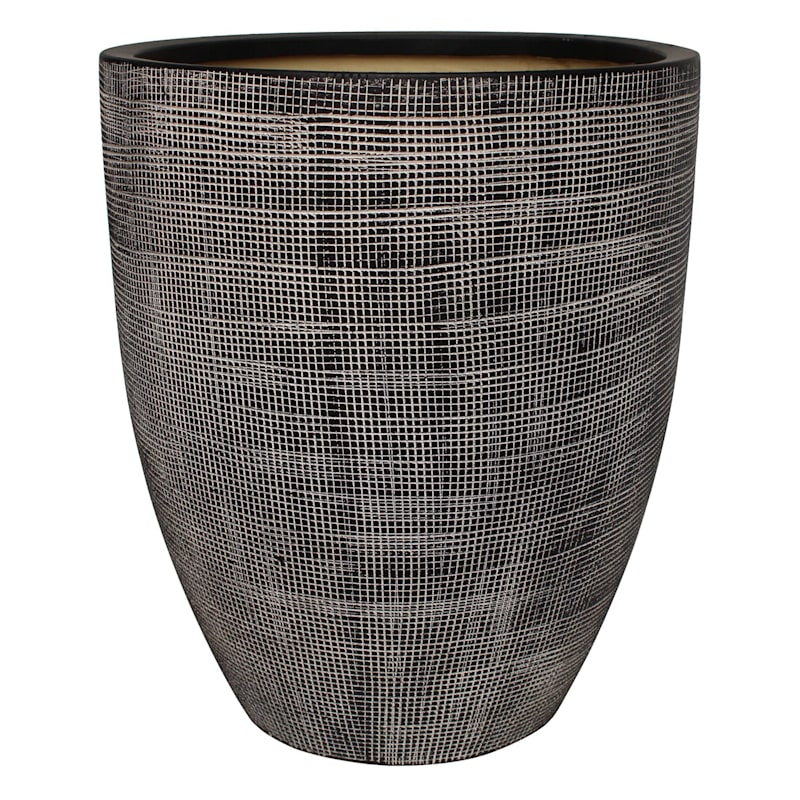 Tall Grid Ceramic Planter 11.4in.