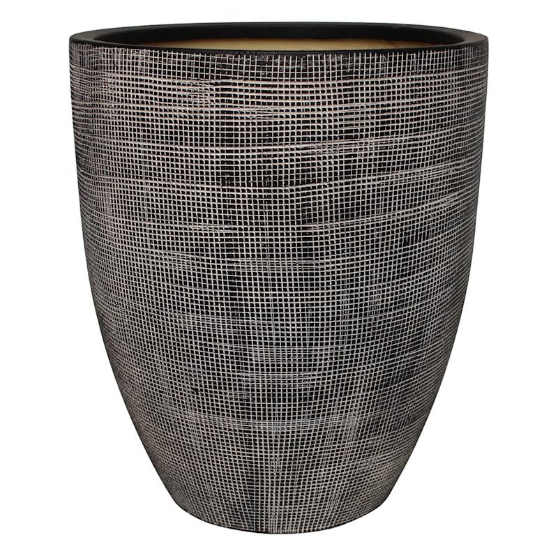 Tall Grid Ceramic Planter 6.3in.