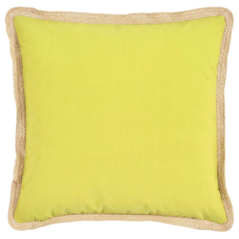 Green Outdoor Pillow - Jute Trim
