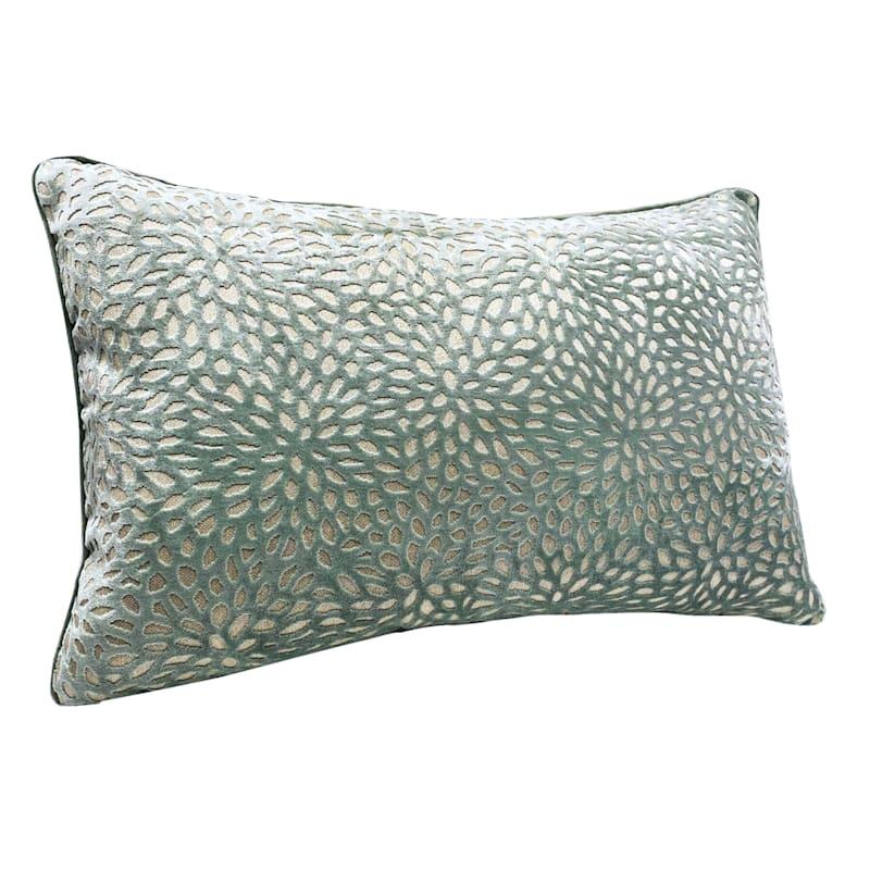 Teal Magnolia Pattern Velvet Pillow 14X20