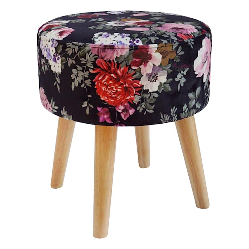 Emmy Black Floral Wood Leg Ottoman