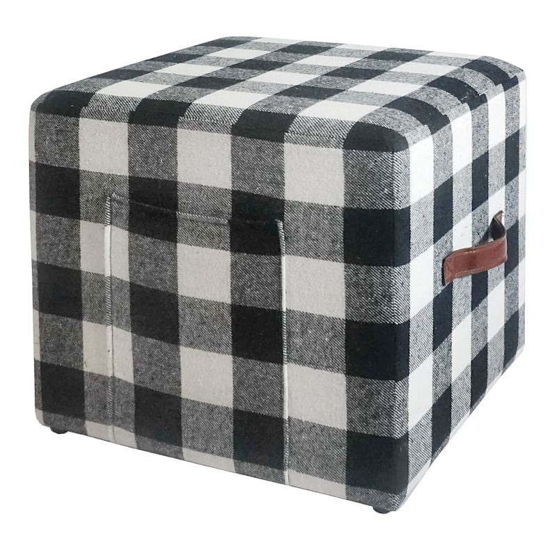 Buffalo Print Black White Square Ottoman with Faux Leather Handle & Pockets