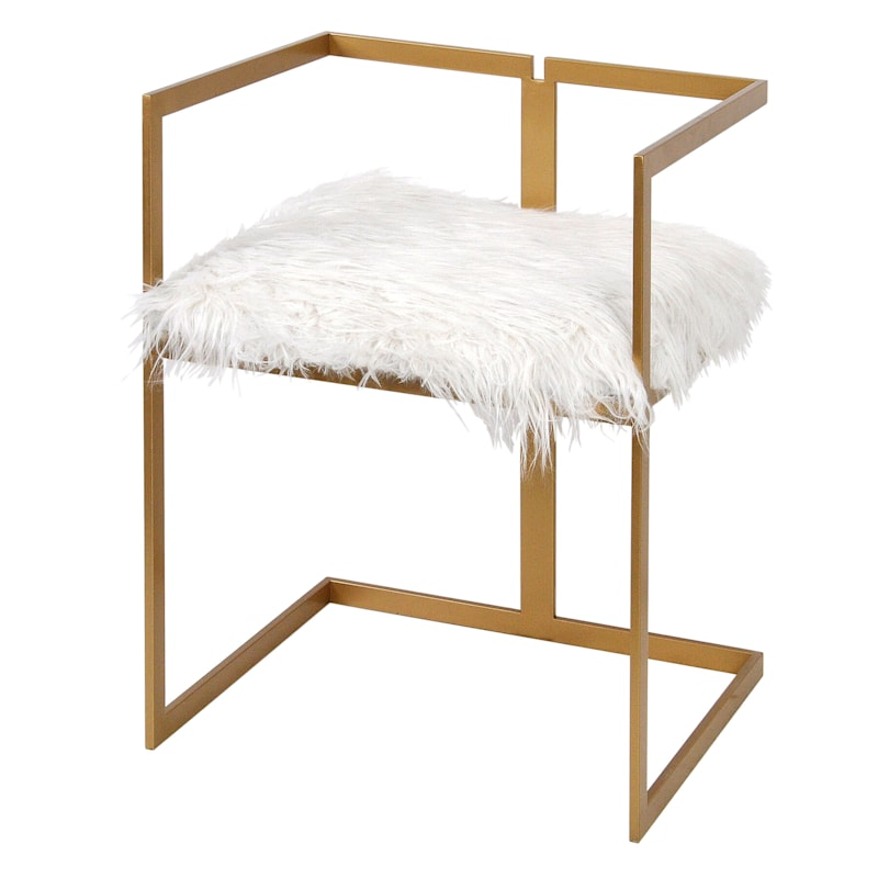 Riley Faux Fur Vanity Chair with Gold Legs