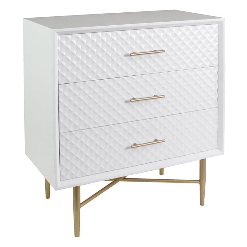 White/Gold 3-Drawer Cabinet
