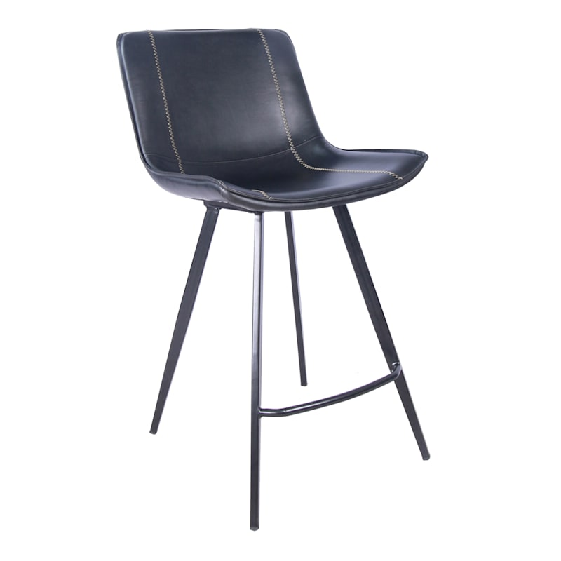 Morgan Black Faux Leather Barstool