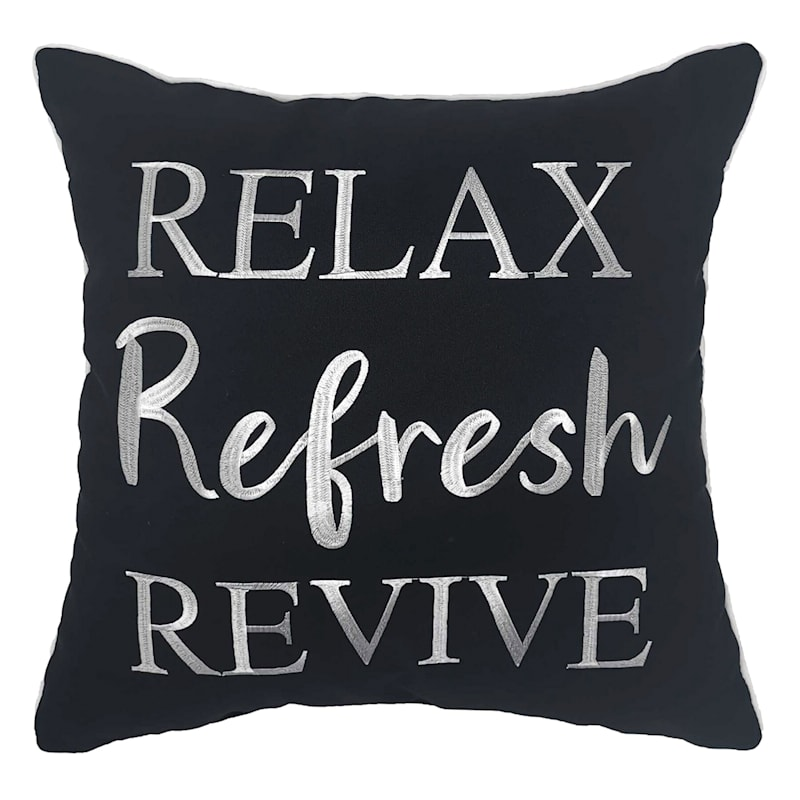 Outdoor Pillow - Relax Refresh Revive - Black