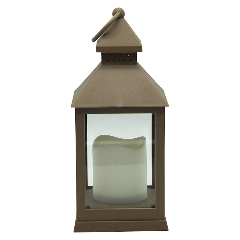 """LED Lantern Brown, 9.5"""""""