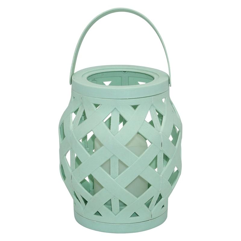6X6 Led Plastic Rattan Lantern/6H Timer Outdoor Celedon