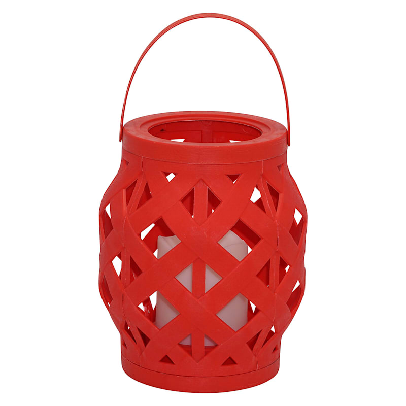 6X6 Plastic Rattan Lantern W/Led Candle Timer Function Weatherproof Red