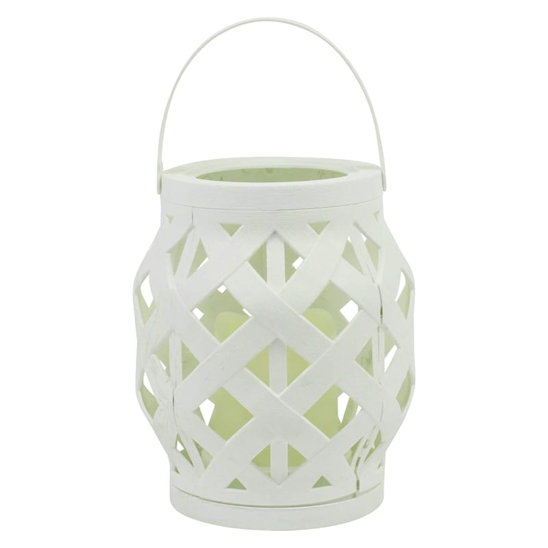 6X6 Plastic Rattan Lantern W/Led Candle Timer Function Weatherproof White
