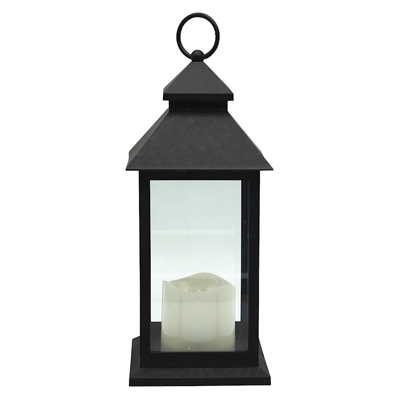 5X12 Weather Proof Led Lantern W/Candle Timer Function Black