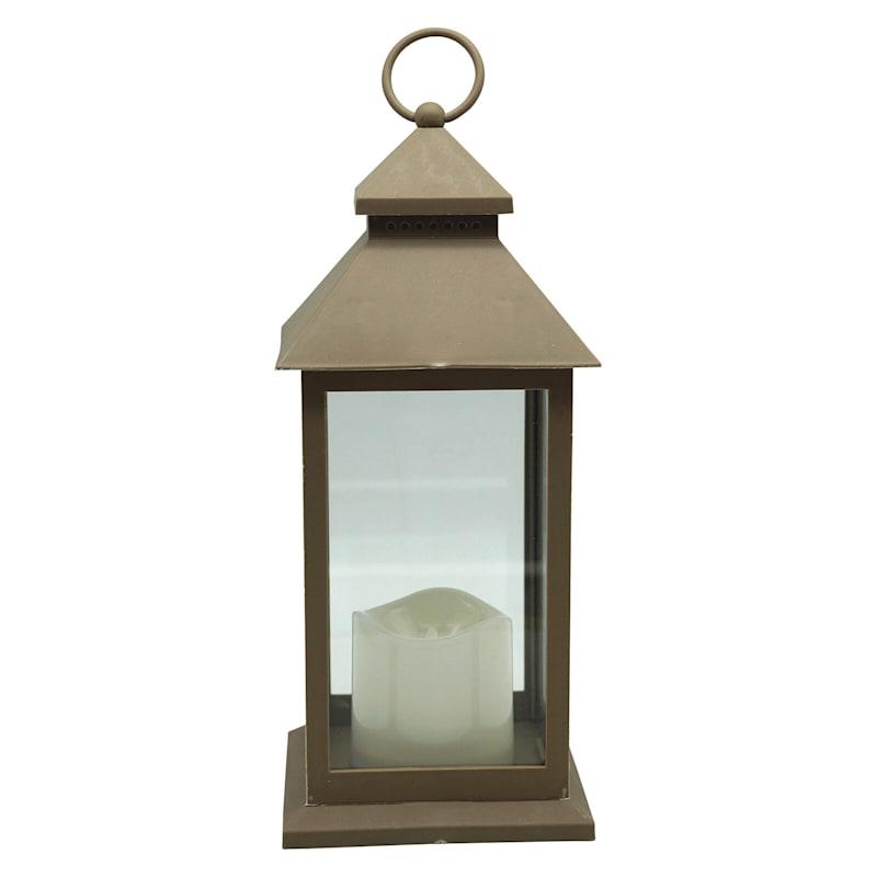 """Brown LED Lantern, 12"""""""