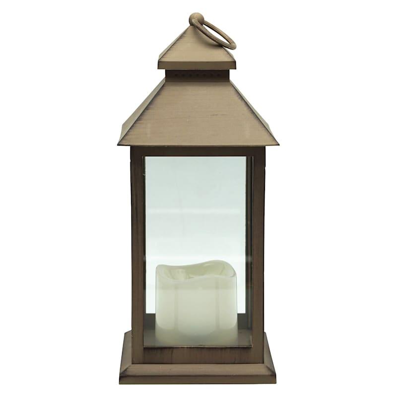 """LED Lantern Brown, 12"""""""