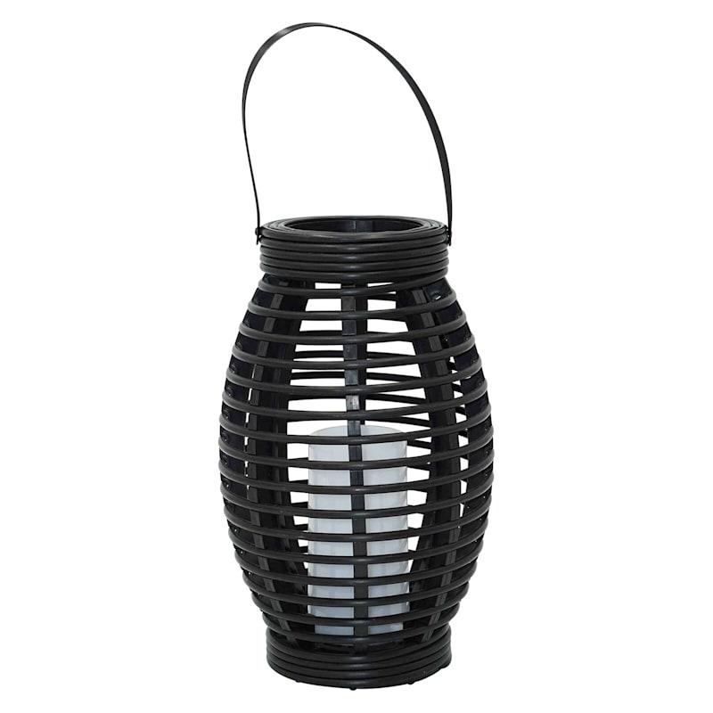 6X10in. Black Faux Rattan Plastic Solar Lantern