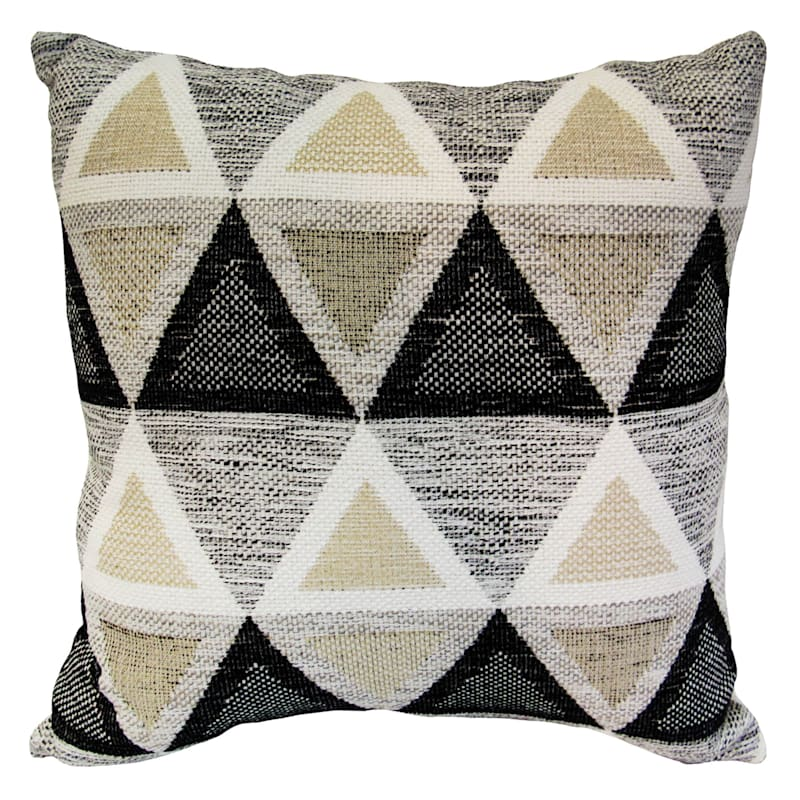 Town And Country Charcoal Woven Textured Pillow 18X18