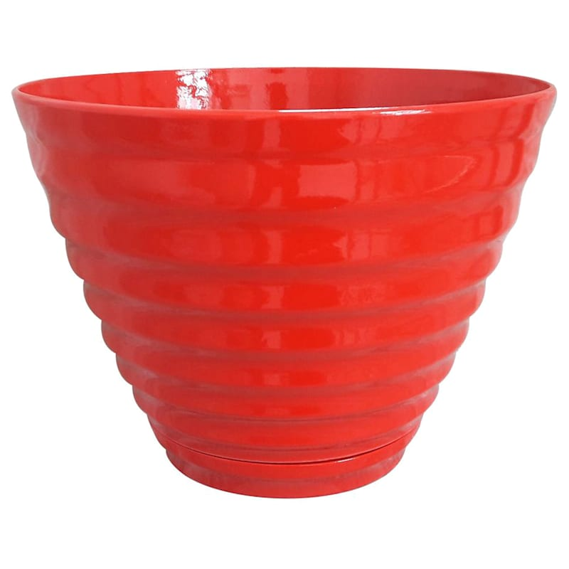 """Red Beehive Planter with Saucer, 16"""""""