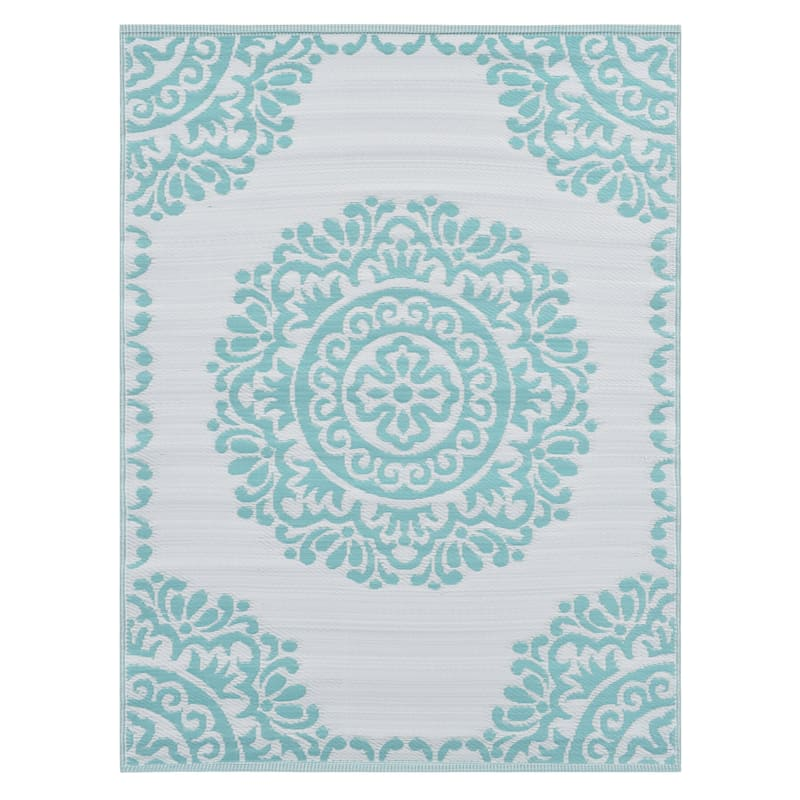 (E271) Teal & Ivory Open Medallion Outdoor Plastic Rug, 5x7
