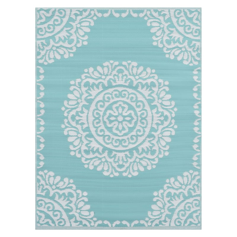 (E271) Teal & Ivory Open Medallion Outdoor Plastic Rug, 6x9