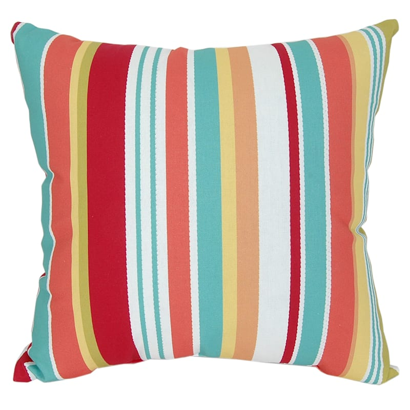 "Summer Stripe Outdoor Throw Pillow, 16"" square"
