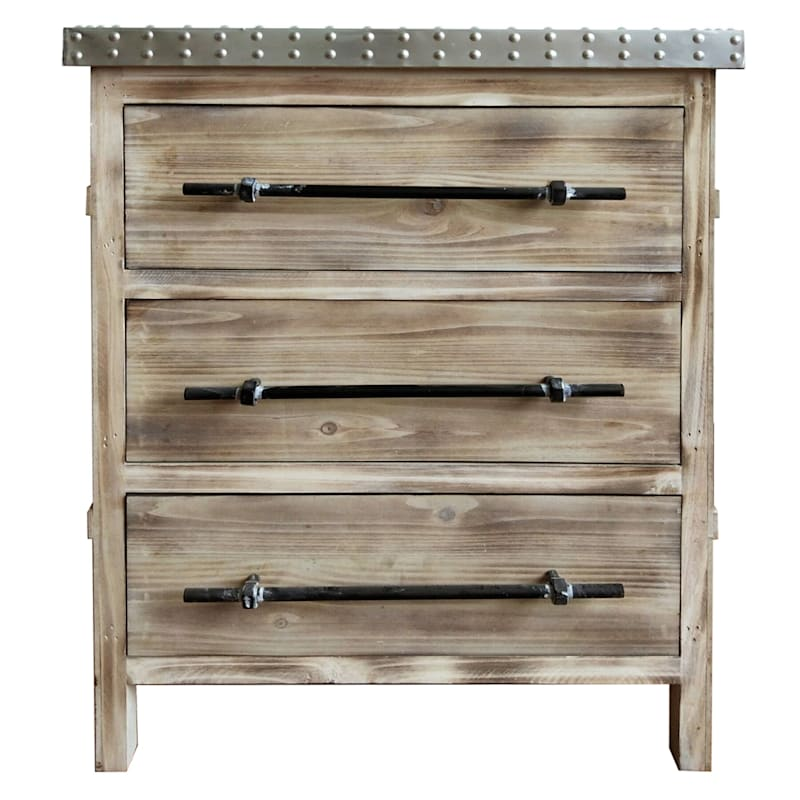 3 Drawer Metal Top Antique Wood Cabinet