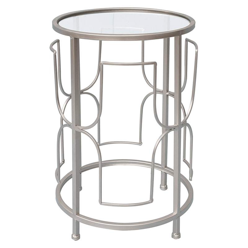 """Glam Silver Drum Accent Table with Glass Top, 20"""""""