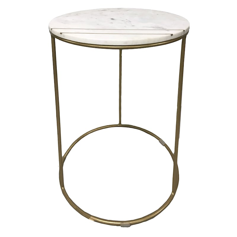 Round Marble Top Accent Table With Brass Inlay Metal Base, Large