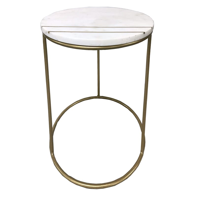 Round Marble Top Accent Table With Brass Inlay Metal Base, Small