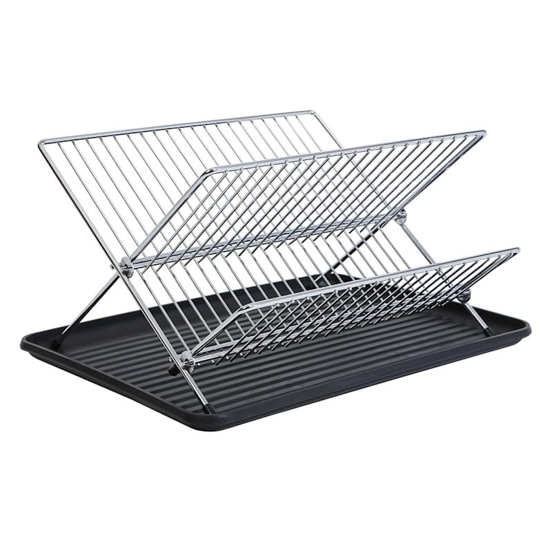 Chrome Fold Dish with Black Board