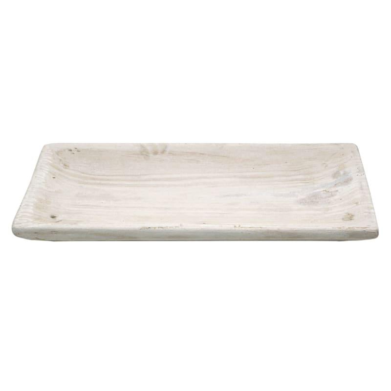 Wood Tray White Brush 20X10