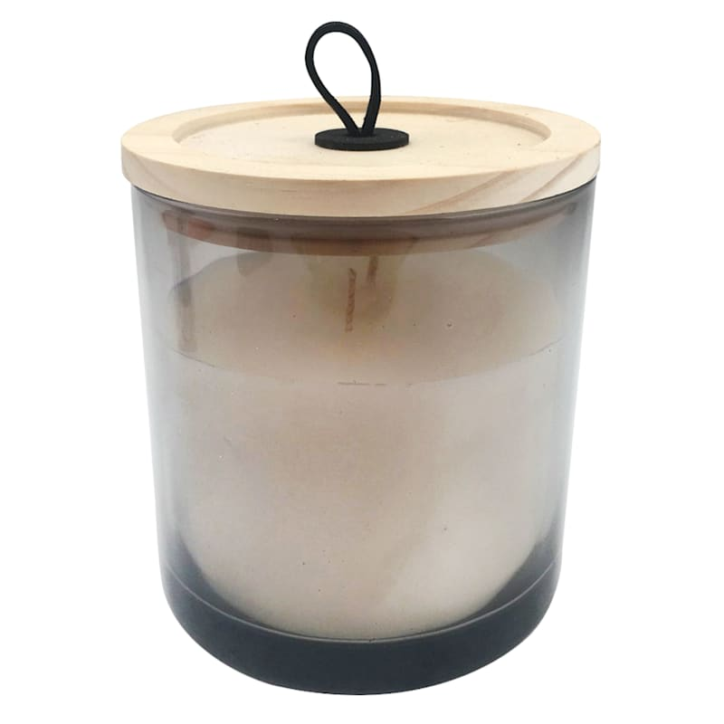 Grey Glass Jar Candle with Wooden Lid and Loop, 14 oz.