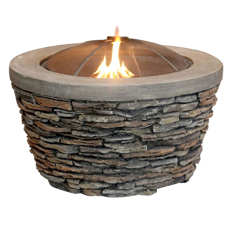 Stone Look Wood Burning Fire Pit With Cover, 26"