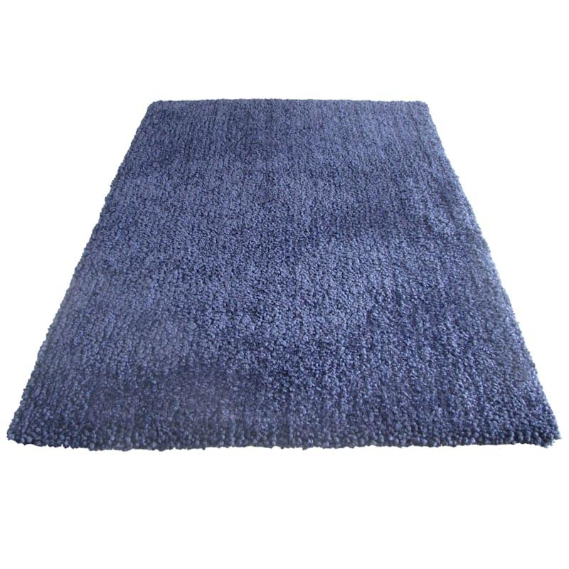 (C148) Yeti Blue Shag Accent Rug, 3x5