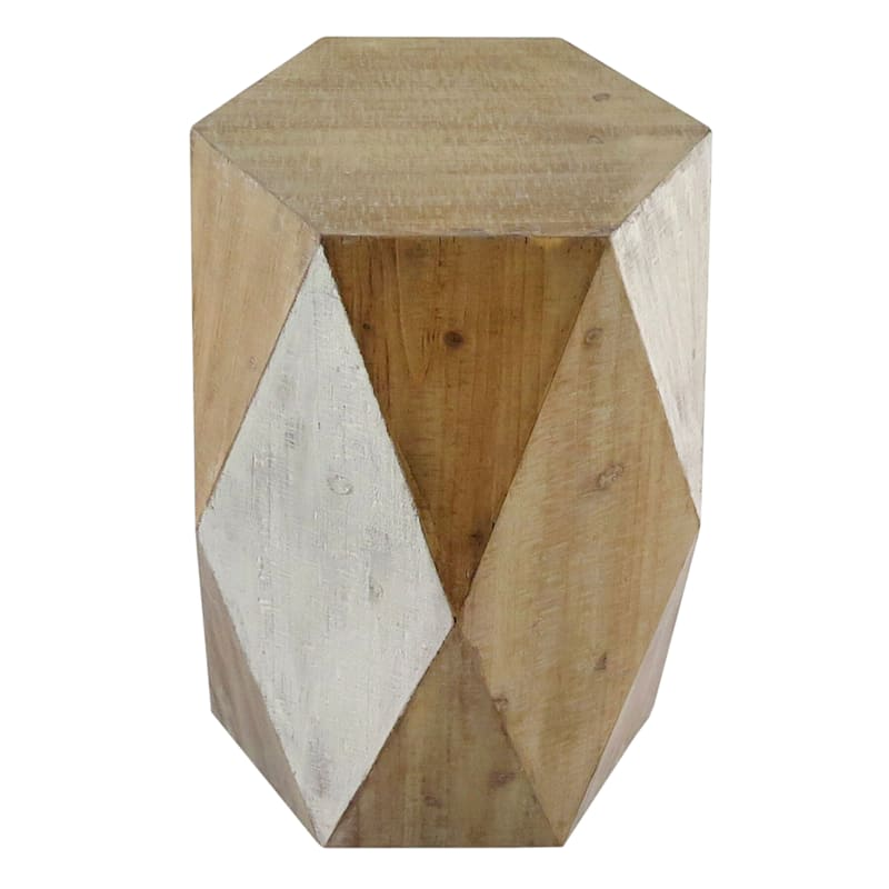 Hexagon Wood Stool Accent Table