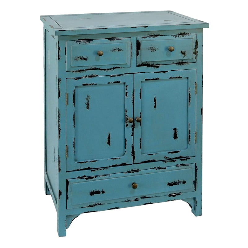 "Antique Blue 3 Drawer 2 Door Wood Cabinet, 35"""