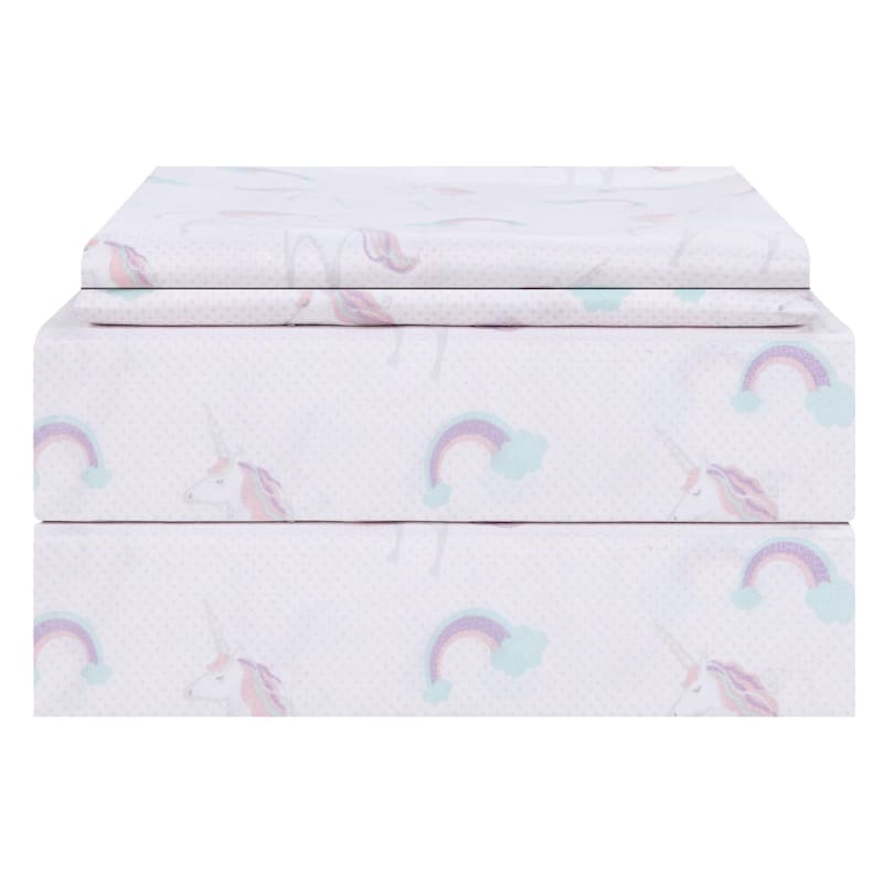 Purple 4-Piece Unicorn Sheet Set Full