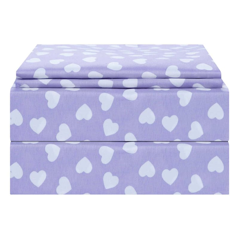 Purple 3-Piece Hearts Sheet Set Full