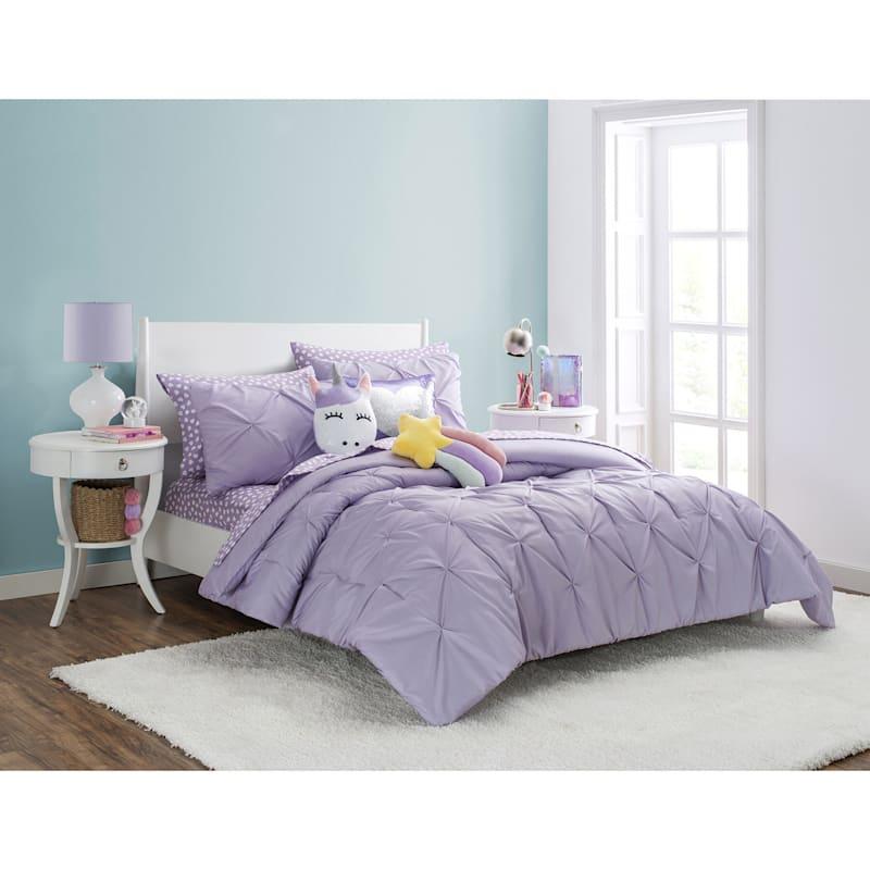 Purple 3-Piece Pintuck Comforter Full/Queen