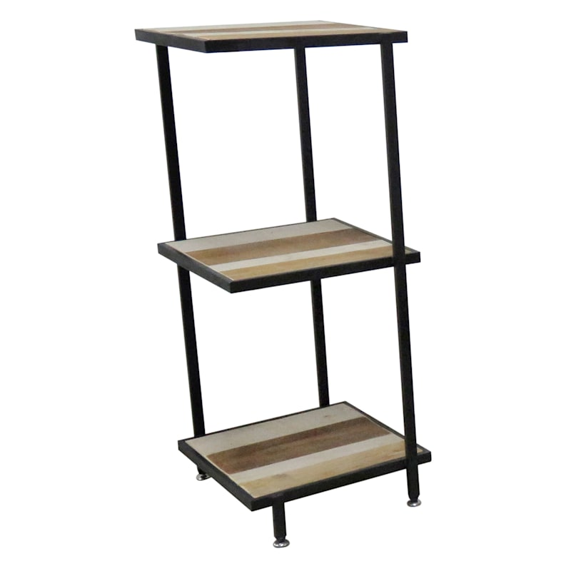 3 Tier Wood With Metal Shelf