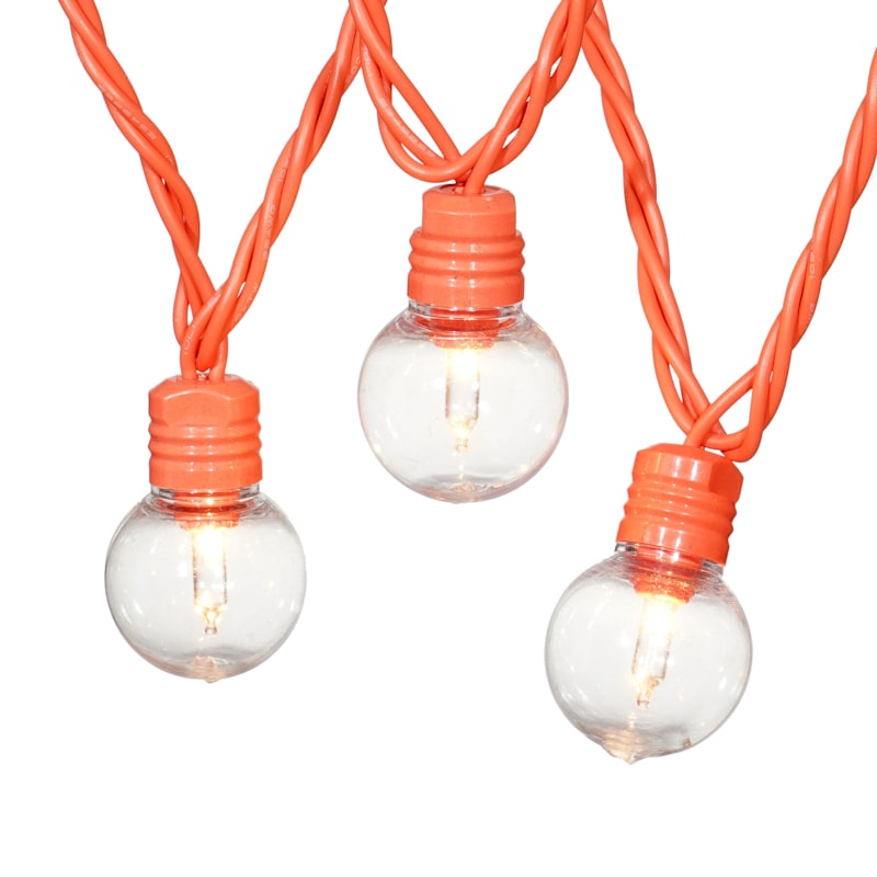 25-Count G30 Plastic Globe Lights, Orange Wire
